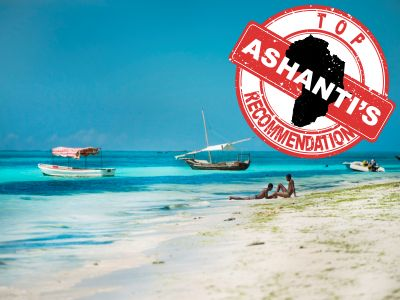 beach with Ashanti logo