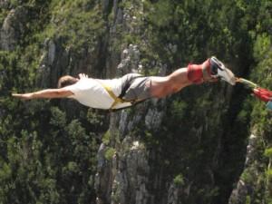man bungy jumping