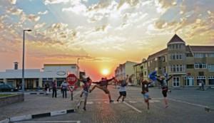 people dancing in the Swakopmund streets