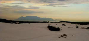 view of table mountain while sandboarding