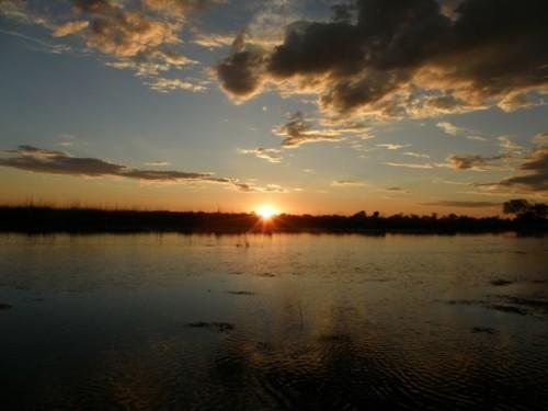 sunset at Okavango Delta