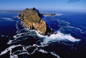 view of Cape point from a helicopter