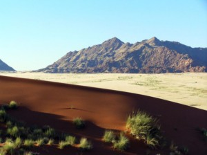 View from dune of mountains
