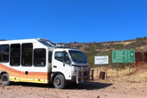 Overland Truck at Grootbergpass Sign