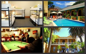 Bar with pool table, dorm room, swimming pool and facade of Ashanti Gardens Backpackers in Cape Town