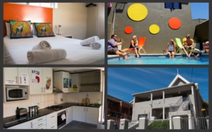 Communal kitchen, double room, swimming pool and facade of green point temporary accommodation