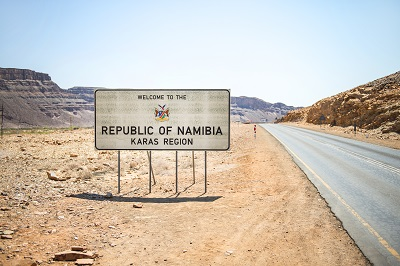 republic of namibia border sign