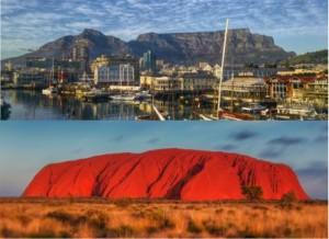 Table Mountain and Uluru