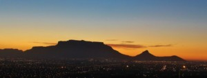 Table Mountain and Cape Town South Africa at night