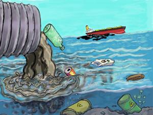 sketch of polluted ocean
