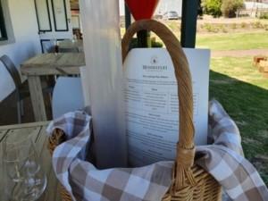 wine tasting kit in a basket